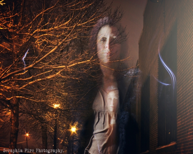 Light Painting, self portrait, Snowy Denver at night, Regan L Rouse